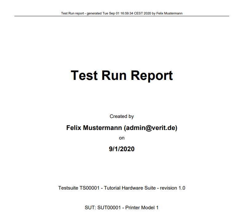 sample front page of project report